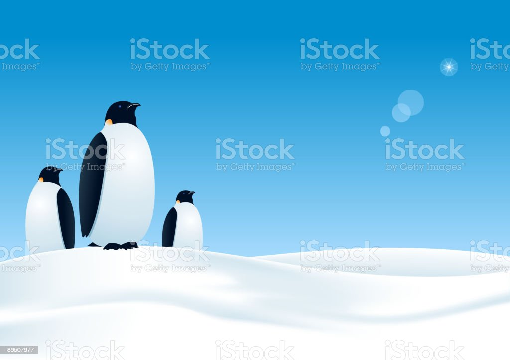Drawing of 3 penguins standing on the snow under a blue sky royalty-free drawing of 3 penguins standing on the snow under a blue sky stock vector art & more images of animal