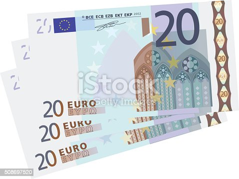 istock drawing of a 3x 20 Euro bills simplified 508697520