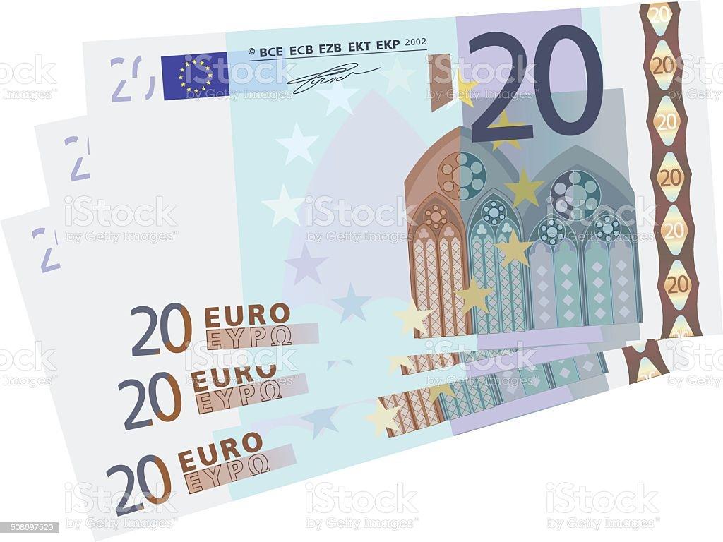 drawing of a 3x 20 Euro bills simplified vector art illustration