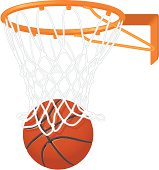 Drawing of a basketball going in a hoop