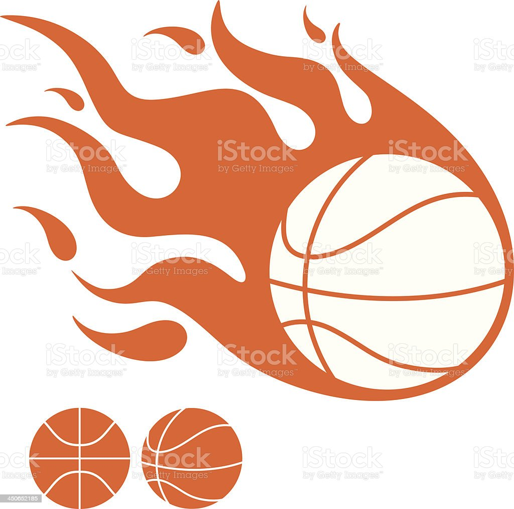 A drawing of a basketball in flames with two in background vector art illustration