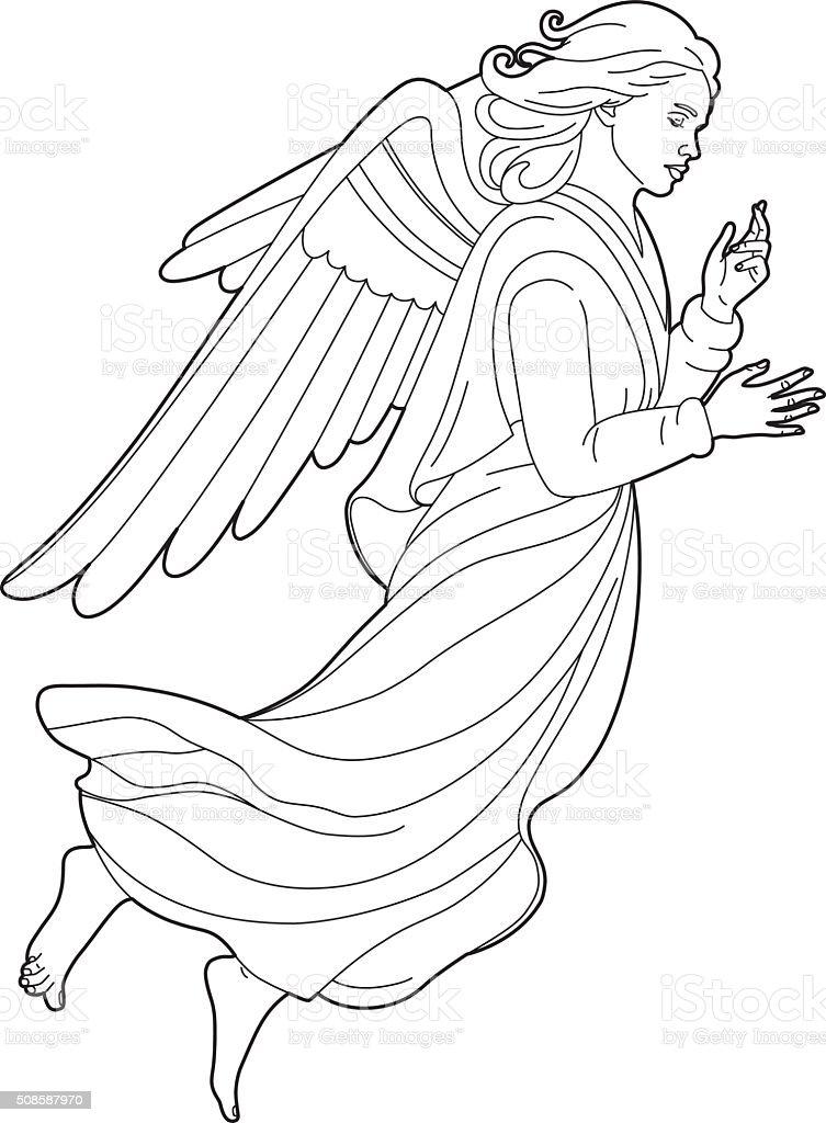 Dibujo de un hermoso ángel - ilustración de arte vectorial