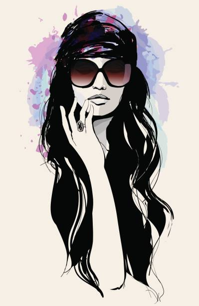 Drawing of a beautiful woman with sunglasses vector art illustration