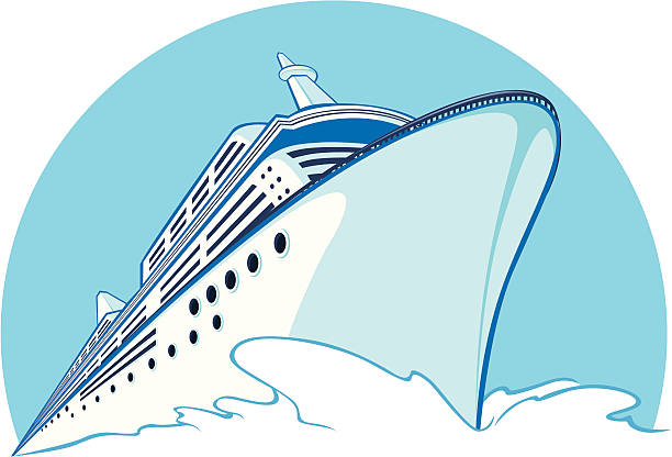 A drawing of a blue cruise ship A vector image of a cruise ship sailing. Looks formal and simple, this vector is very good for logo, bussiness card, brochure, or other application that needs travel theme objects. cruise vacation stock illustrations