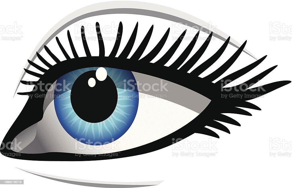 Dessin Dun Oeil Bleu Avec De Longs Cils Vecteurs Libres De