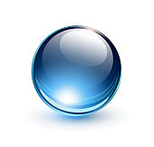 Drawing of a blue sphere on a white background