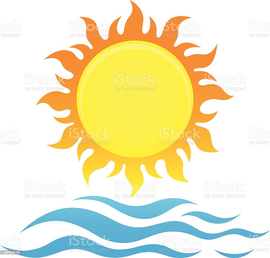 A drawing of a bright yellow sun and waves vector art illustration
