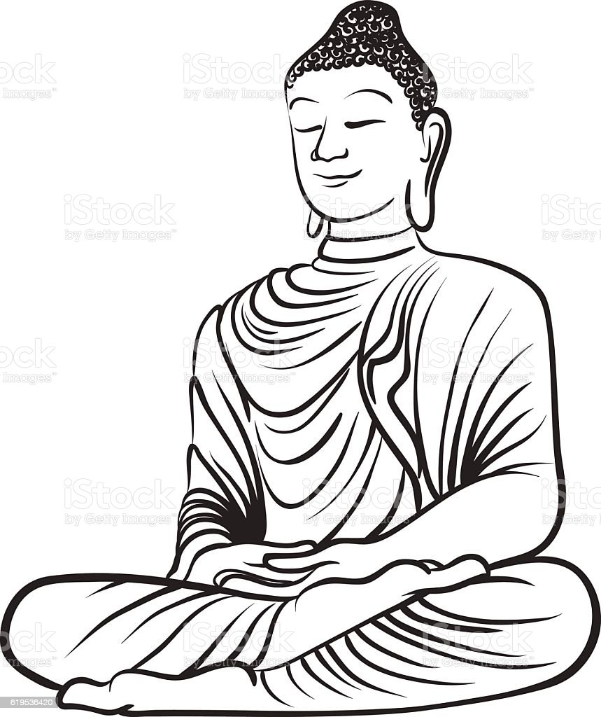 Drawing of a buddha statue stock vector art more images of art 619536420 istock - Dessin de bouddha gratuit ...