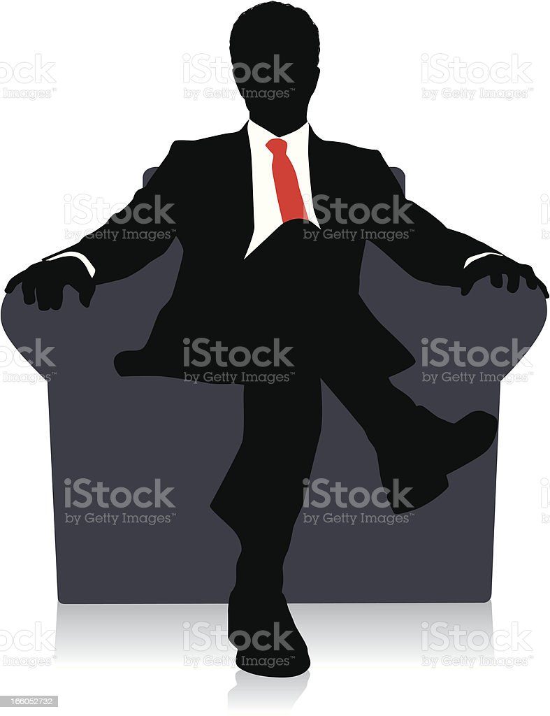 Drawing of a businessman sitting on a chair with red tie vector art illustration