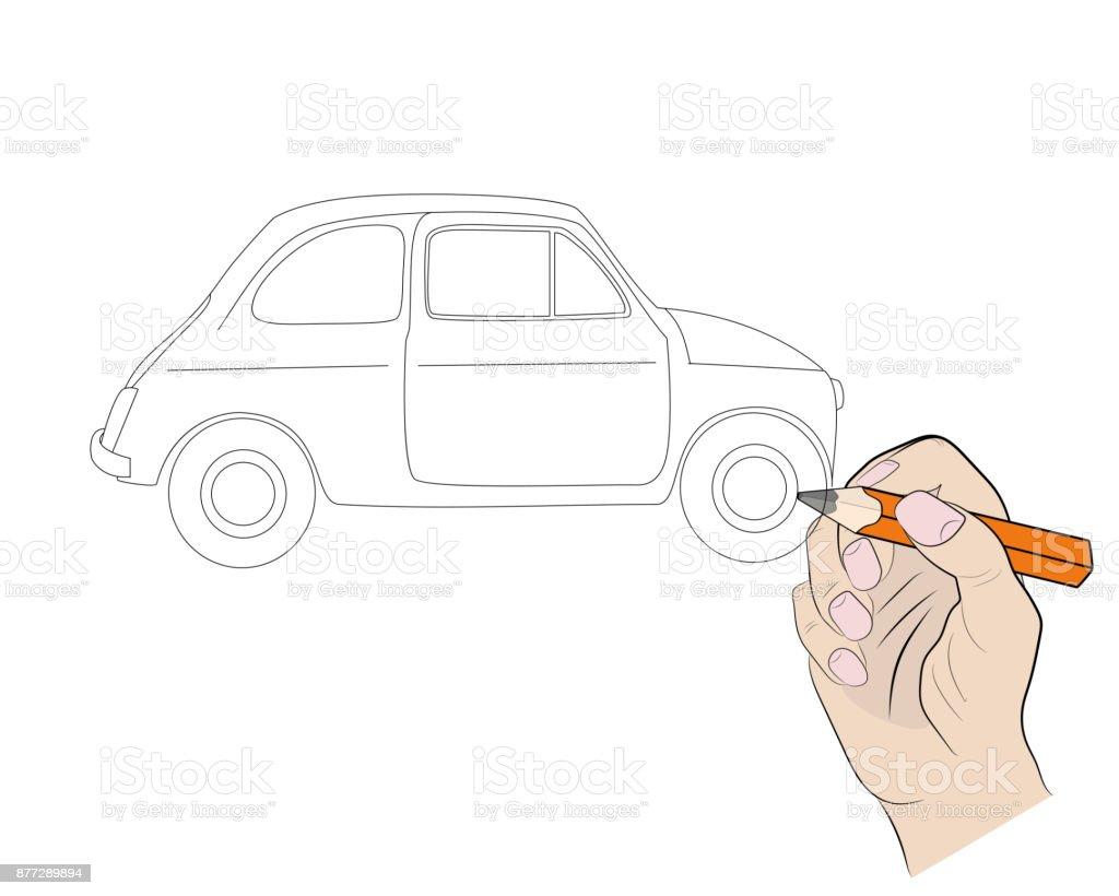 Zeichnung Eines Autos Mit Einem Bleistift Gemalt Vektorillustration