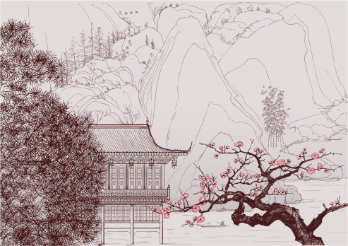 Drawing of a Chinese landscape with blooming pink flowers