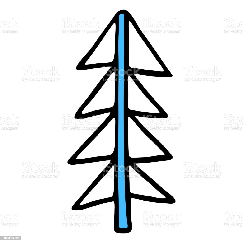 Drawing Of A Christmas Tree Spruce Or Fir Drawn By Hand Stock Illustration Download Image Now Istock