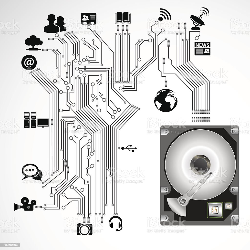 Drawing of a circuit board with picture labels vector art illustration