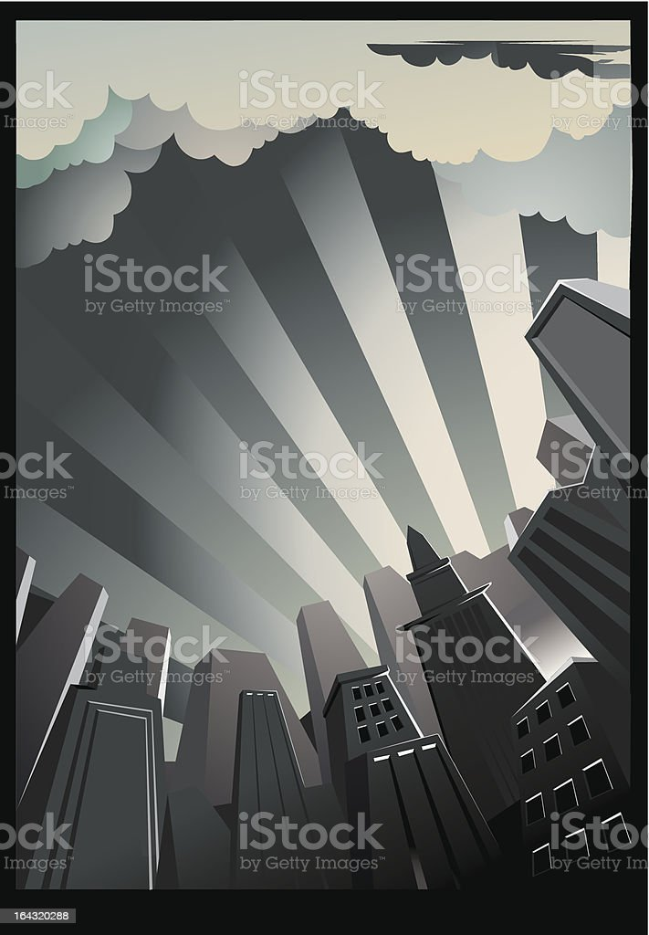 A drawing of a city background with tall buildings royalty-free stock vector art
