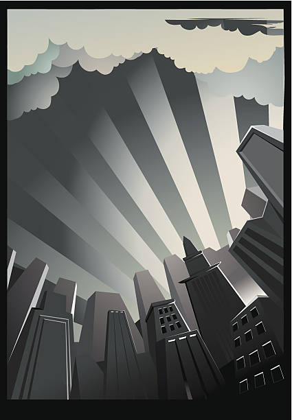 a drawing of a city background with tall buildings - 1930s style stock illustrations, clip art, cartoons, & icons