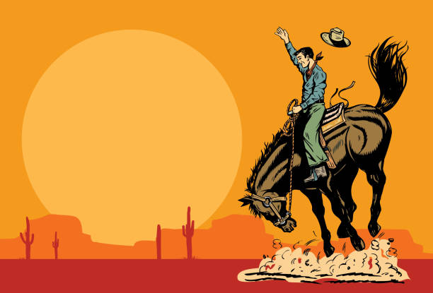 drawing of a cowboy riding a wild horse at sunset, vector - rodeo stock illustrations, clip art, cartoons, & icons