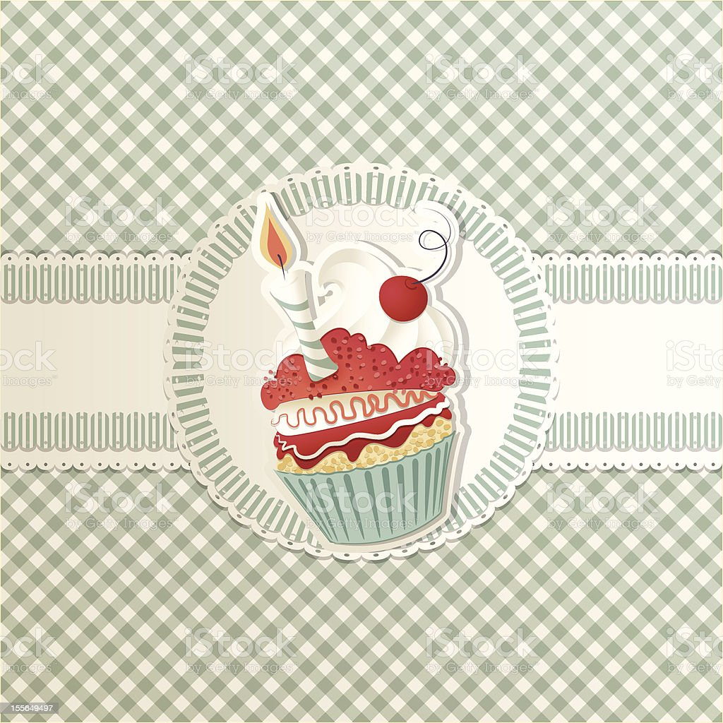 Drawing of a cupcake with a birthday candle vector art illustration