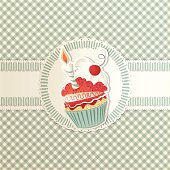 Drawing of a cupcake with a birthday candle