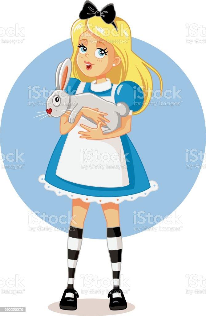 Drawing of a cute blonde girl holding a bunny - ilustración de arte vectorial