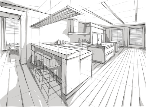 Drawing of a design for a interior home