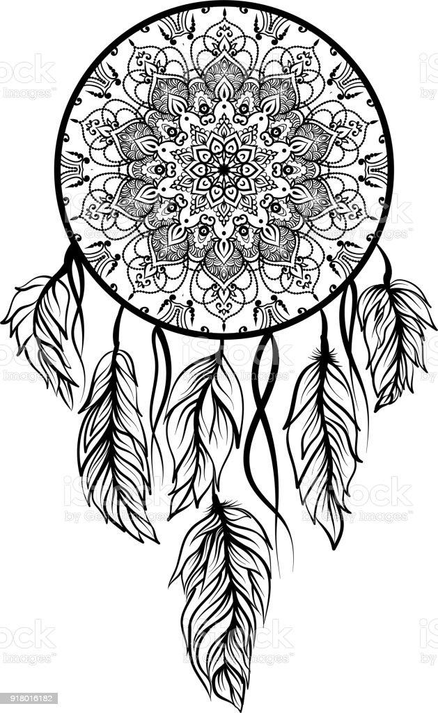 Ilustración de Dibujo De Un Atrapasueños Con Perlas De Abd De Plumas ...