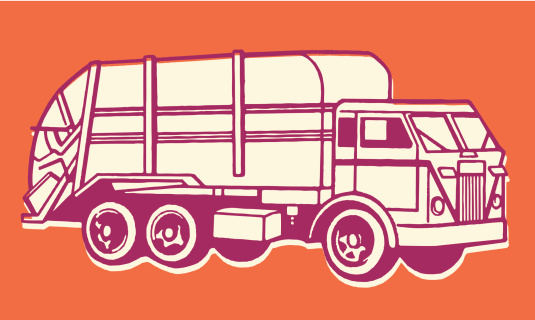 A drawing of a garbage truck against an orange background