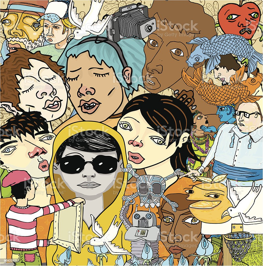 Drawing of a great variety of people A whole load of eccentric doodles! Makes for an awesome background because the file can be cropped and scaled to any size. Additionally, with a simple unmasking the characters are grouped individually and can be used all on their own. Please visit my portfolio for related images.   Adolescence stock vector
