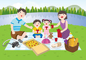 Drawing OF A Happy Family Having A Picnic Together In The Park During Day Time