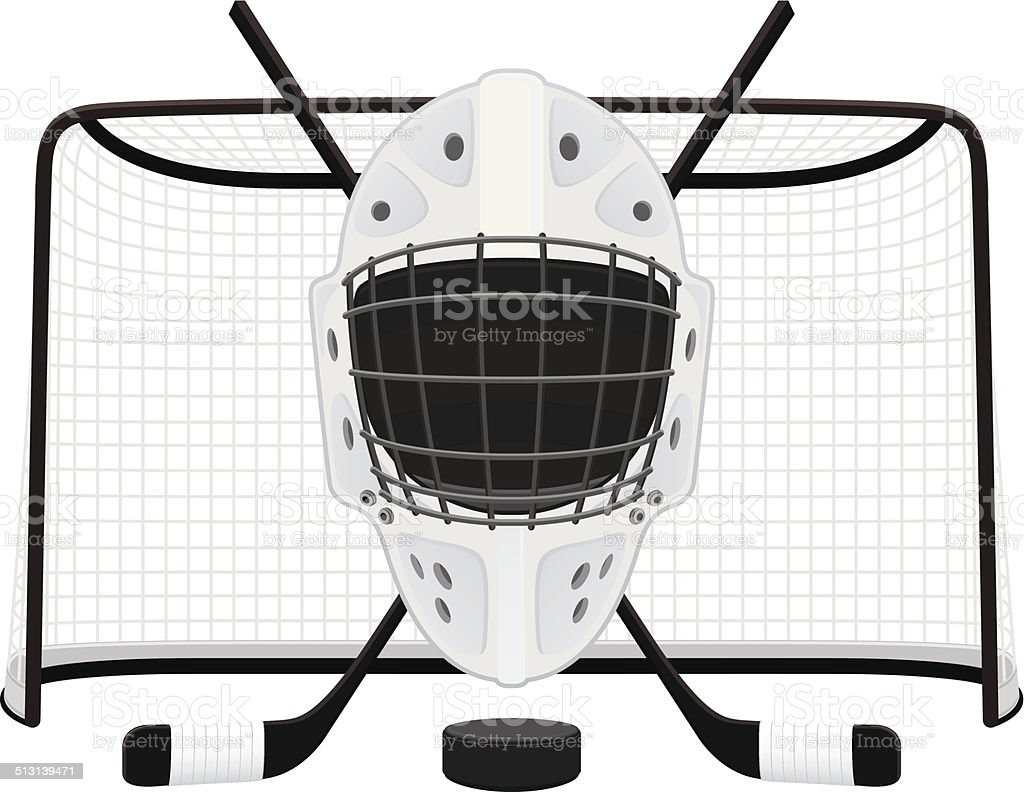 A Drawing Of A Hockey Goalie Mask In Front Of A Net Stock Vector Art