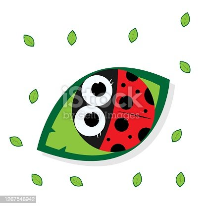 Drawing of a ladybug sitting on a green leaf. Graphic design. Leaves all around.