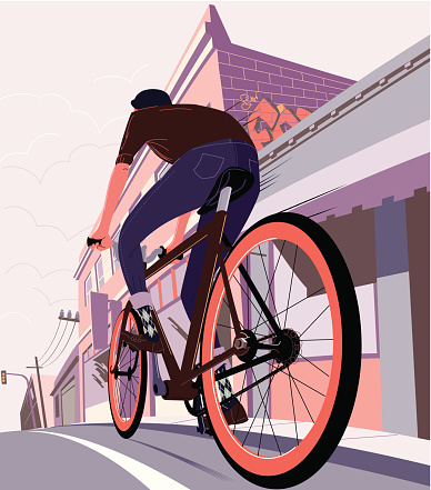 Drawing of a man on a bicycle cycling in the city