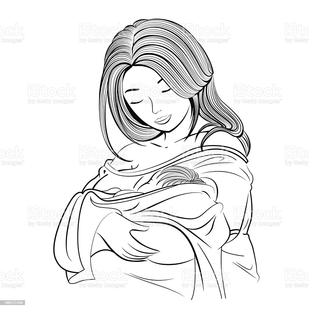 A drawing of a mother holding her baby royalty free a drawing of a mother