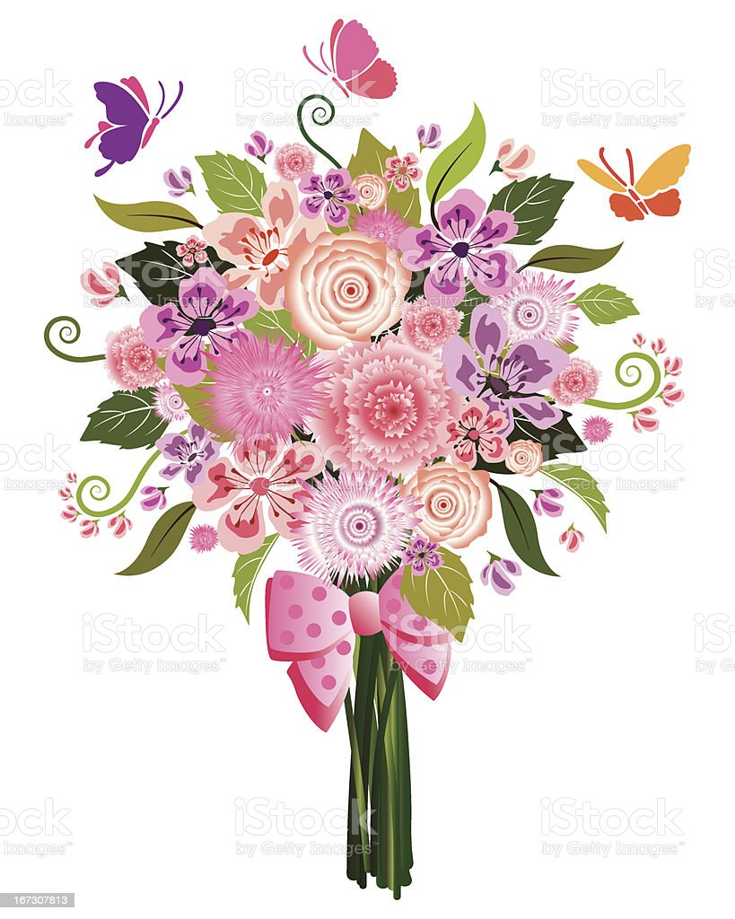 Drawing of a pastel flower bouquet with butterflies vector art illustration