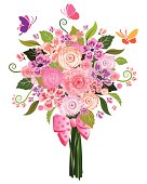 Drawing of a pastel flower bouquet with butterflies