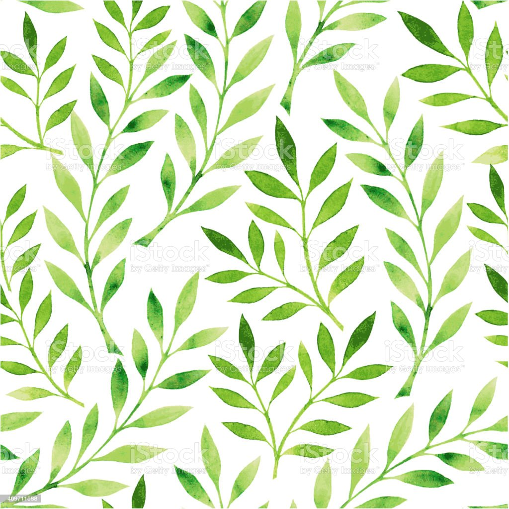 A Drawing Of A Pattern Of Green Leaves On A White