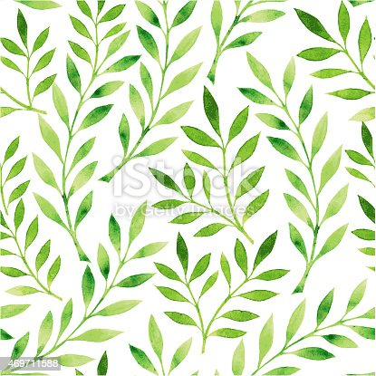 istock A drawing of a pattern of green leaves on a white background 469711588