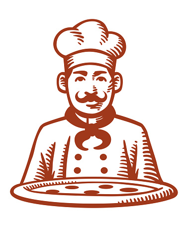 Drawing of a pizza chef