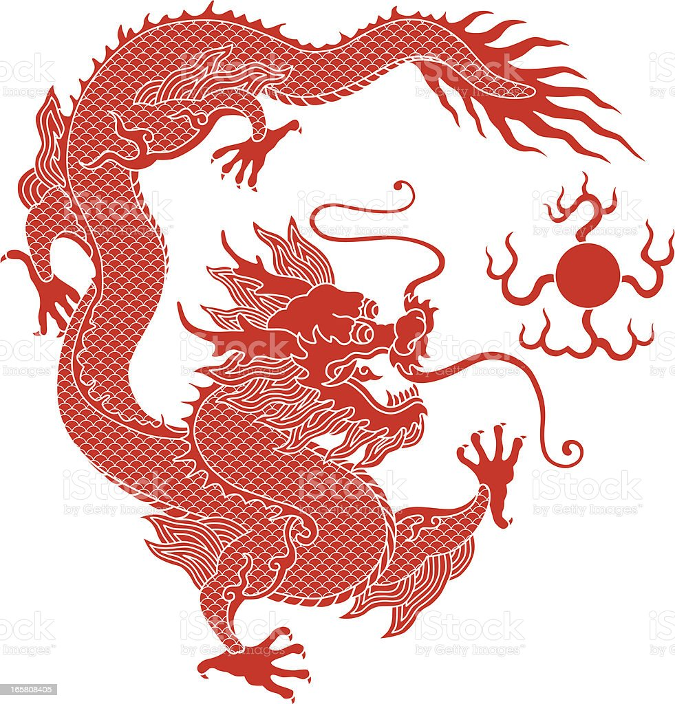 a drawing of a red chinese dragon stock vector art 165808405 istock