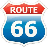 A drawing of a red, white and blue sign that reads Route 66