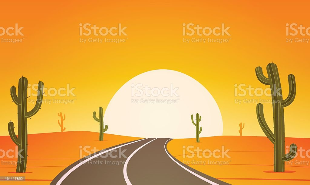 Drawing Of A Road In The Desert Under The Sunset Stock