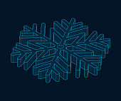 Isometric 3d drawing of a snowflake. Blue lines on a black background. Christmas vector illustration. Editable strokes.