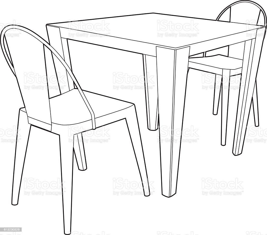 Line Art Table : Drawing of a table and two chairs stock vector art more