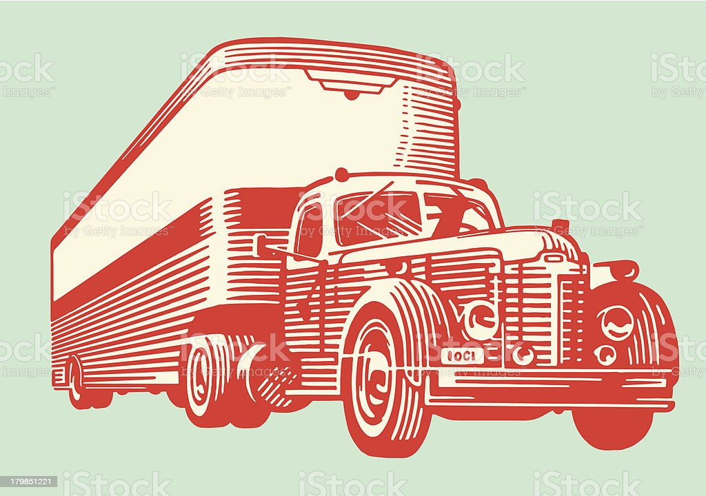 A drawing of a vintage semi truck royalty-free stock vector art