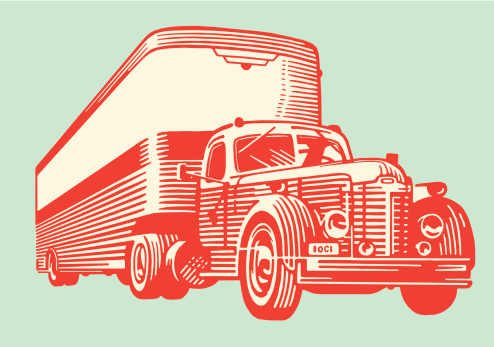 A drawing of a vintage semi truck