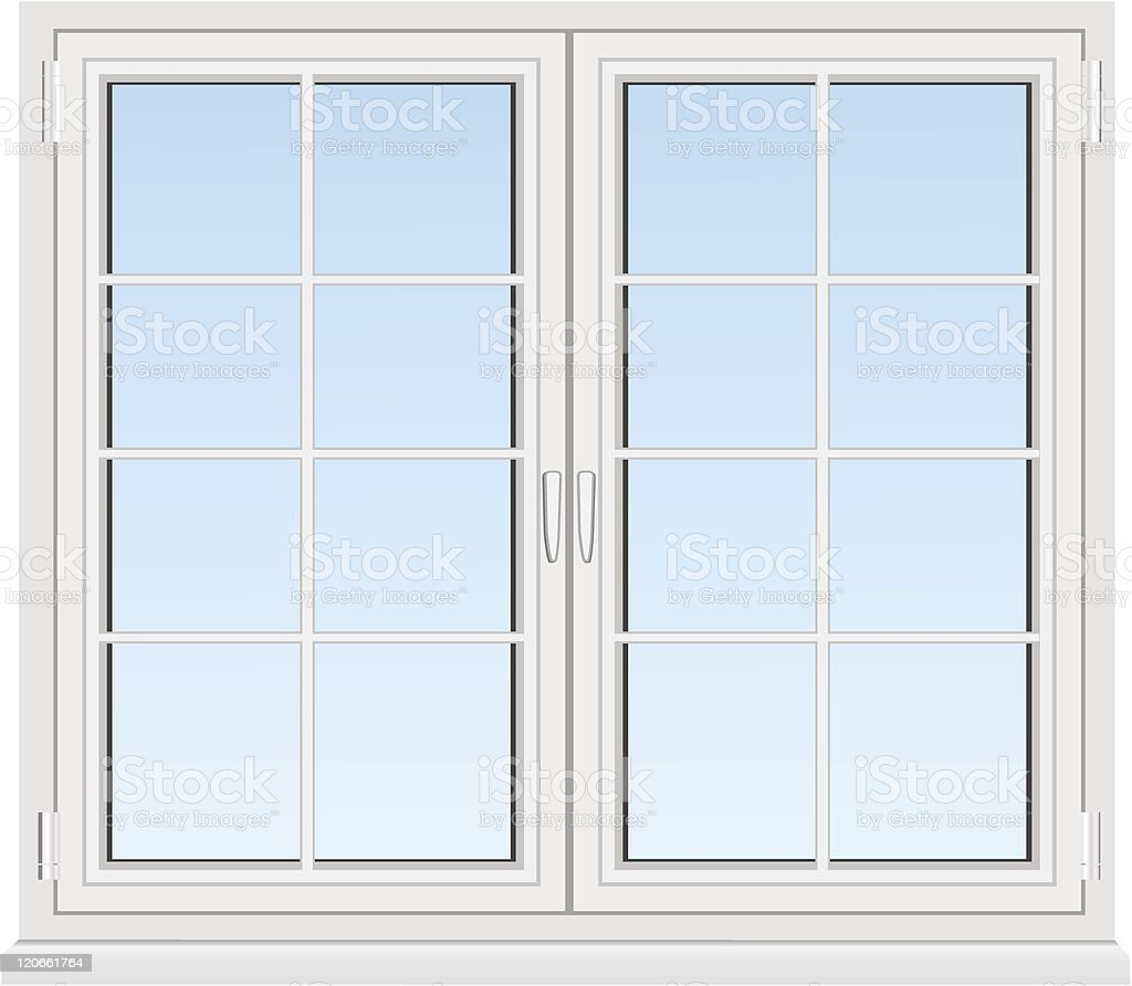 Drawing of a window and window panes vector art illustration