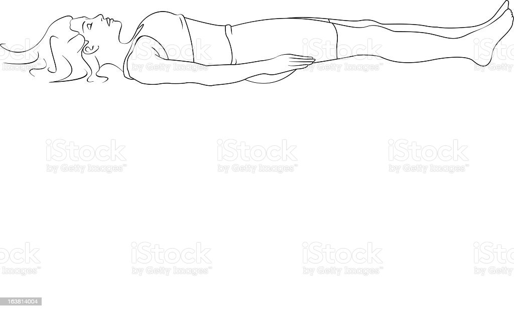Drawing of a woman lying down on her back with arms on side vector art illustration