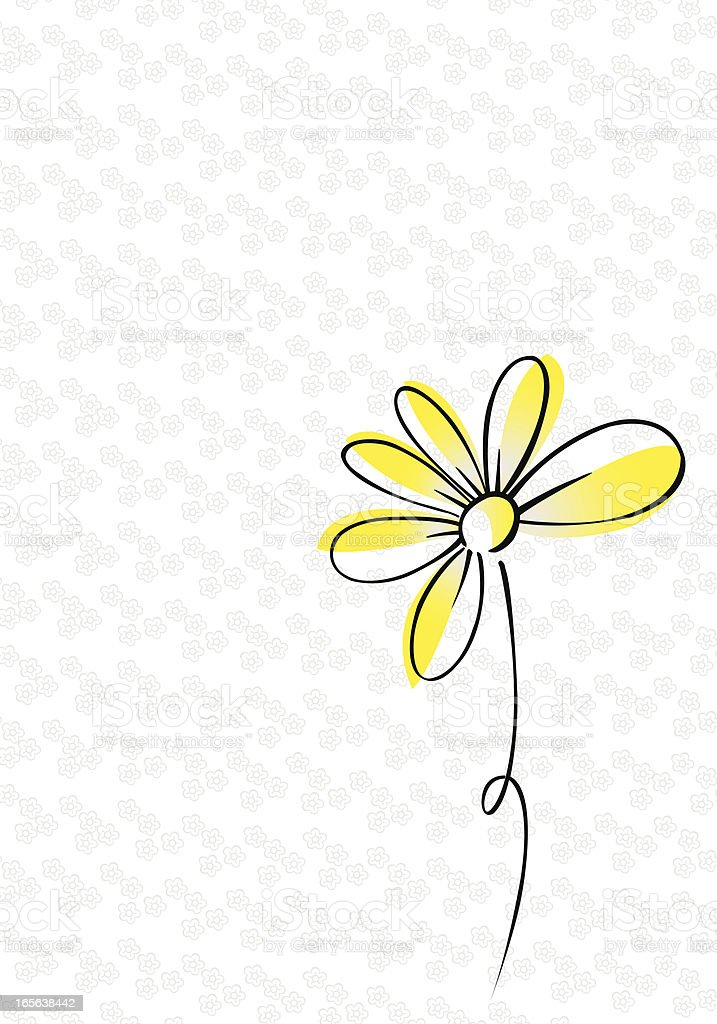 A drawing of a yellow and black daisy on white and gray vector art illustration