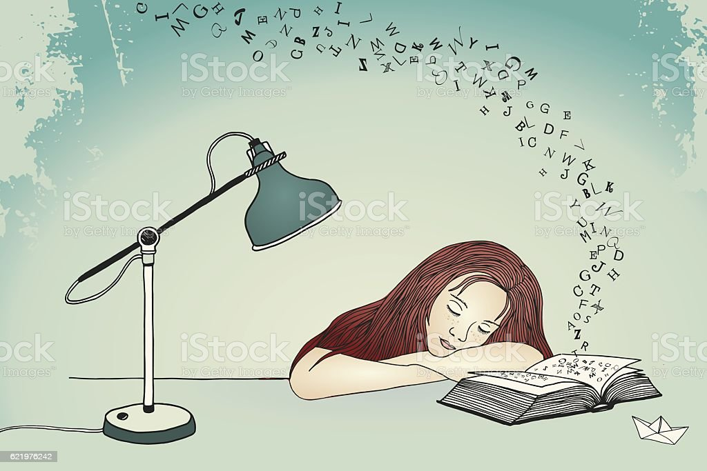 Drawing of a young woman asleep at her desk vector art illustration