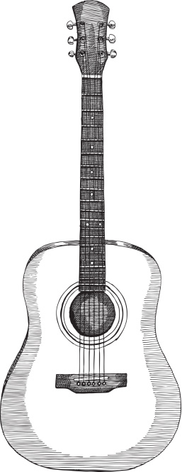 Drawing Of An Acoustic Guitar In Black And White Stock