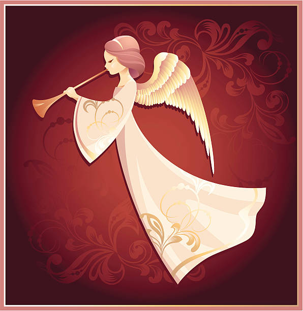 Drawing of an angel on a red background vector art illustration